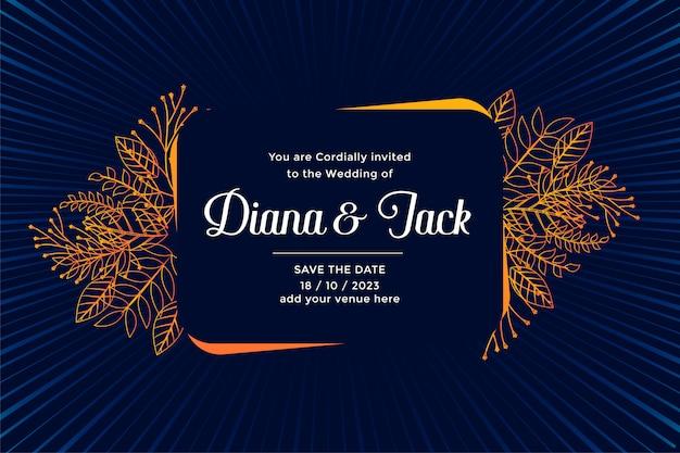 Projekt karty ślubu z rozkwitu liści dekoracji