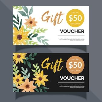 Projekt karty voucher akwarela kwiatowy prezent