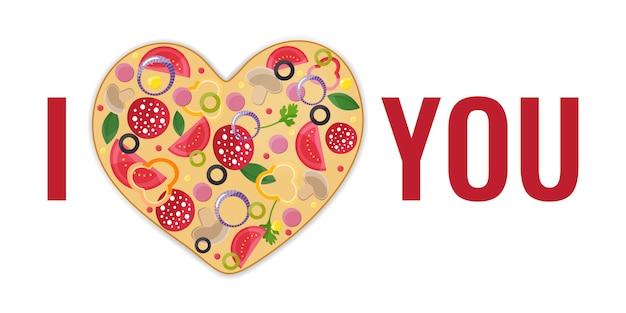 Projekt karty walentynki. serce do pizzy. miłość do pizzy
