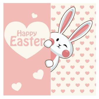 Projekt karty wielkanocnej. śliczny śliczny królik z różowym sercem