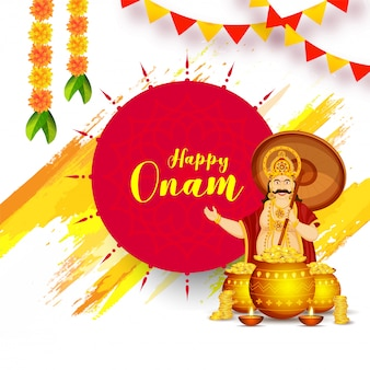 Projekt karty z pozdrowieniami lub plakatu happy onam uroczystości z ilustracją króla mahabali i złote monety
