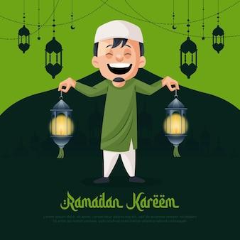Projekt karty z pozdrowieniami ramadan kareem z muzułmańskim mężczyzną trzymającym w ręku latarnię