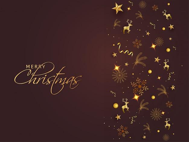 Projekt karty z pozdrowieniami wesołych świąt z złote gwiazdy, płatki śniegu, renifery, liście sosny i konfetti na błyszczącym brązowym tle.