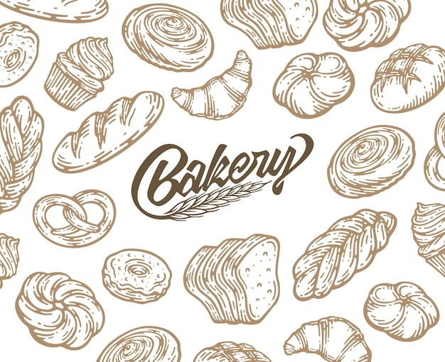 Projekt karty z tuszem ręcznie rysowane ilustracji do pieczenia. vintage szablon z chleba i ciastek doodle szkic.