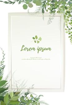 Projekt karty z zielenią kwiatową: paprociowa liść paproci gałąź eukaliptusa zielone liście liście zioło zieleń rama. zaproszenie na ślub