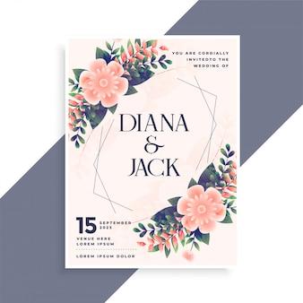 Projekt karty zaproszenie na ślub z kwiatową dekoracją