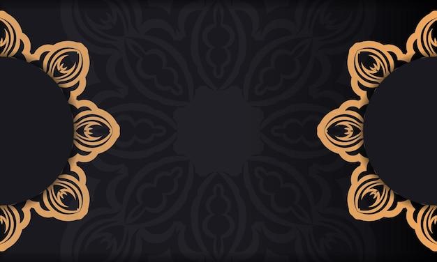 Projekt karty zaproszenie z greckim ornamentem. czarne tło z rocznika ozdoby i miejsce na tekst.