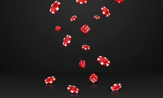 Projekt kasyna z jackpotem ozdobiony czerwonym błyszczącym grającym statkiem z nagrodami.