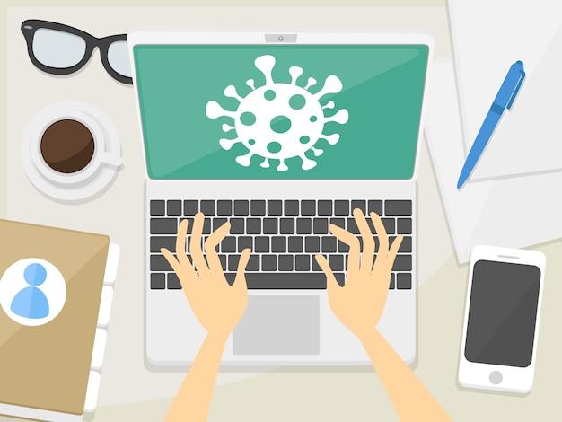 Projekt kąta blatu w miejscu pracy. komputer laptop pracy w domu. ilustracja płaska sztuka.