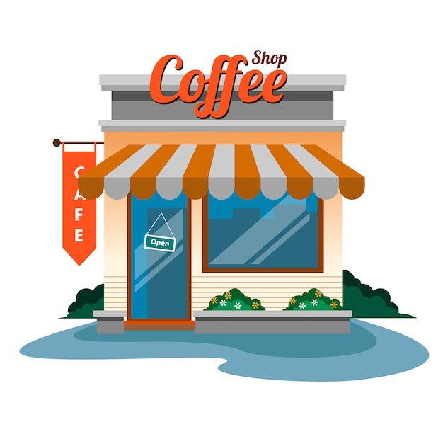 Projekt kawiarni na wektorze