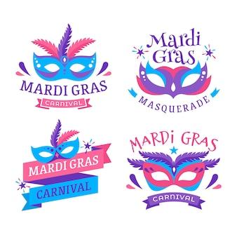 Projekt kolekcji etykiet mardi gras