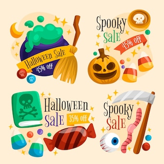 Projekt kolekcji etykiet sprzedaży halloween