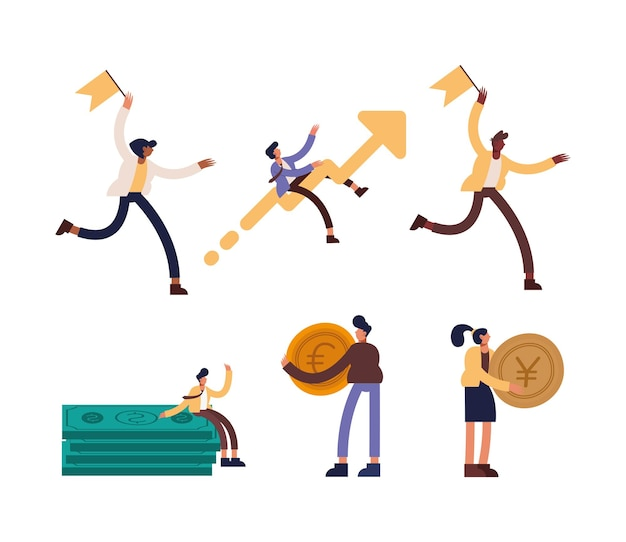 Projekt kolekcji ikon przedsiębiorców, zarządzanie biznesem i korporacyjna ilustracja motywu