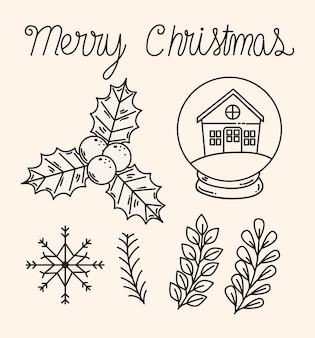 Projekt kolekcji ikon wesołych świąt, sezon zimowy i dekoracja