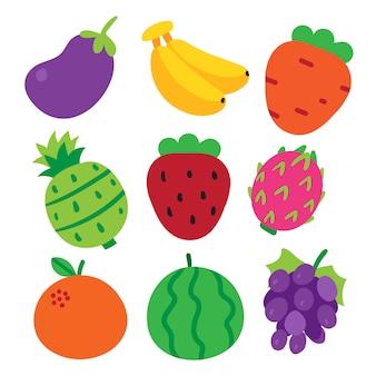 Projekt kolekcji owoców wektorowych