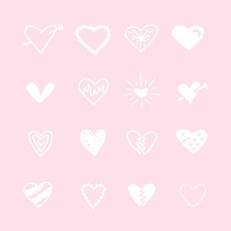 Projekt kolekcji ręcznie rysowane serca