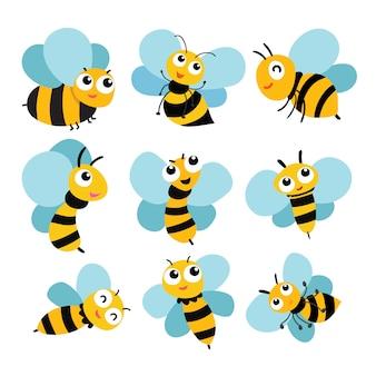 Projekt kolekcji wektor pszczół