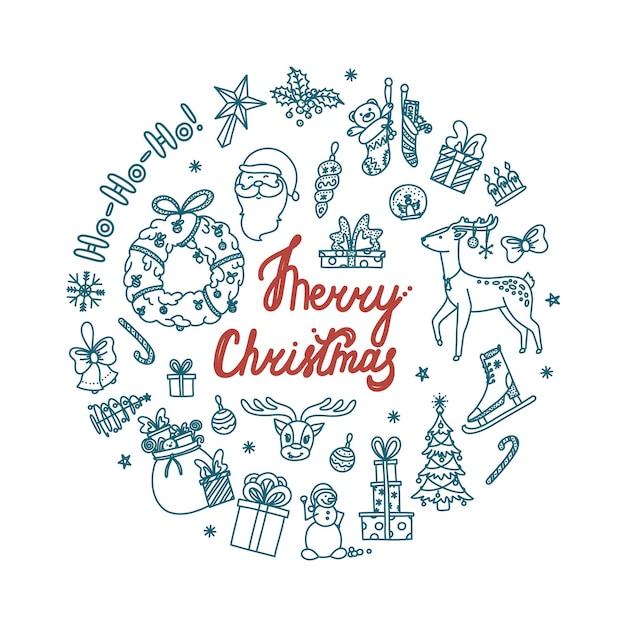 Projekt koło bożego narodzenia doodle ze wszystkimi obiektami wakacyjnymi ręcznie rysowane szkic świąteczny