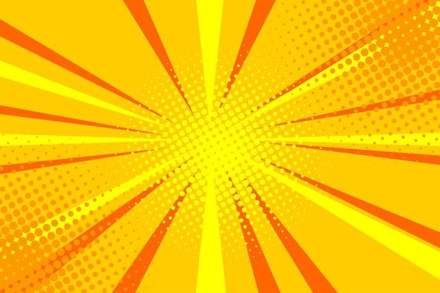 Projekt komiksu pop-artu eksplozja na białym tle komiksy w stylu retro promieniste żółte tło
