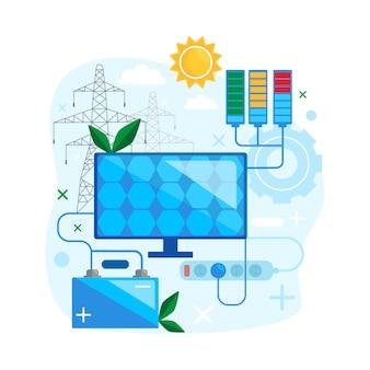 Projekt koncepcji energii słonecznej. bezpieczny i korzystaj z alternatywnej energii odnawialnej. zielona energia paneli słonecznych. ilustracja wektorowa płaski