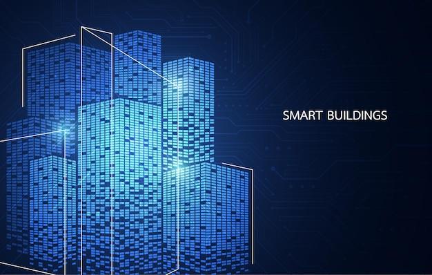 Projekt koncepcji inteligentnego budynku dla inteligentnego wykorzystania sieci, magazynu lub plakatu w mieście. ilustracja wektorowa