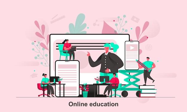 Projekt koncepcji internetowej edukacji online w stylu płaskiej z postaciami małych ludzi
