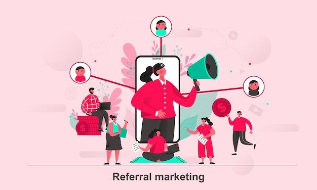 Projekt koncepcji internetowej marketingu polecającego w stylu płaskiej z postaciami małych ludzi