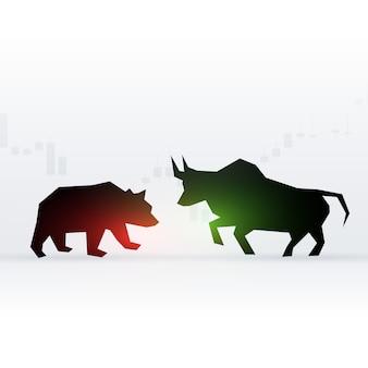 Projekt koncepcji niedźwiedzia i byka