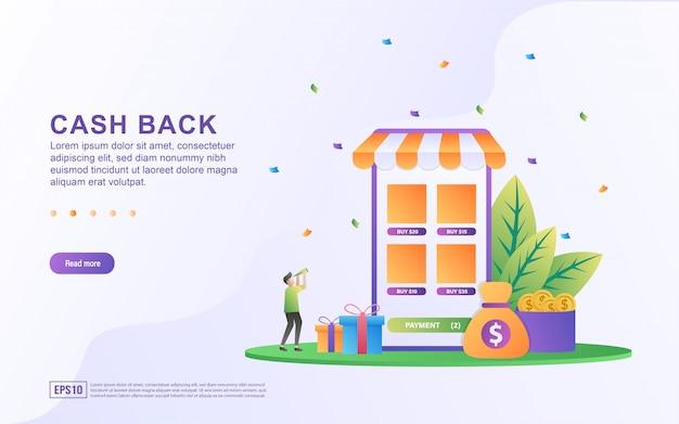 Projekt koncepcyjny cash back, ludzie otrzymujący nagrody pieniężne i upominki z zakupów online, program nagród cash back dla klientów.