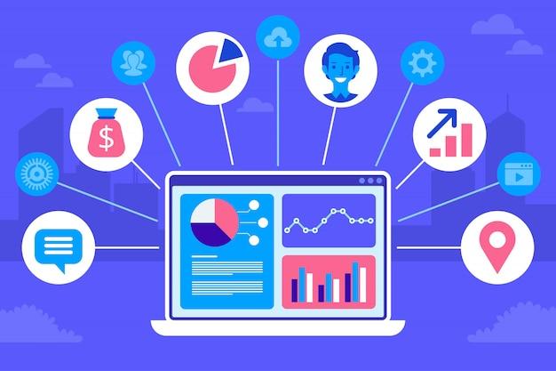 Projekt koncepcyjny crm. płaskie ikony systemu księgowego, klientów, wsparcia, oferty.