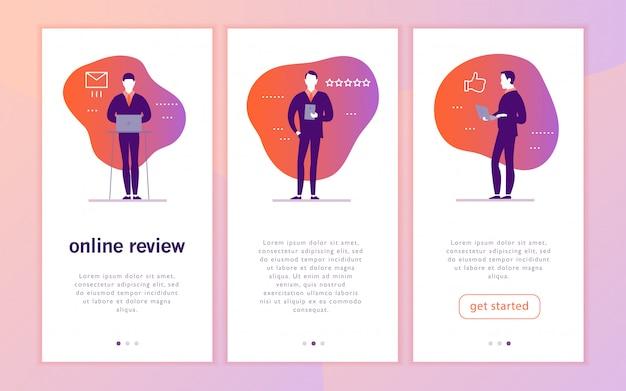 Projekt koncepcyjny interfejsu aplikacji mobilnej z motywem recenzji online. osoby biurowe z gadżetem - laptop, tablet - dają ocenę w gwiazdkach. kciuk w górę, ikony linii gwiazd.