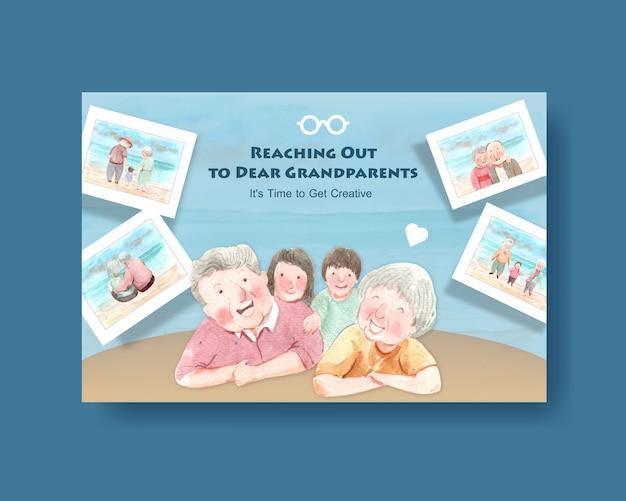 Projekt koncepcyjny krajowego dnia dziadków dla mediów społecznościowych i wektor akwarela marketingu online.