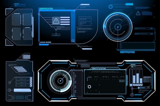 Projekt koncepcyjny science-fiction. kwadratowe bloki ramek ustawiają elementy interfejsu hud. futurystyczna ramka ostrzegawcza