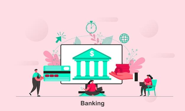 Projekt koncepcyjny sieci bankowej w stylu płaskiej z postaciami małych ludzi