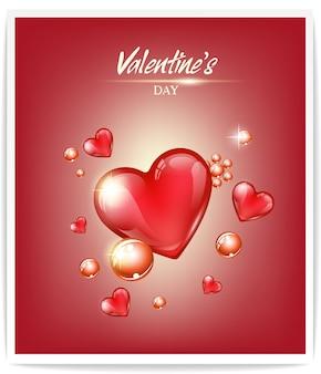 Projekt koncepcyjny valentines, zawiera szklane serduszka i okrągłe perły. ilustracja wektorowa na baner lub kartkę z życzeniami