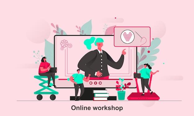 Projekt koncepcyjny warsztatów online w stylu płaskiej z postaciami małych ludzi