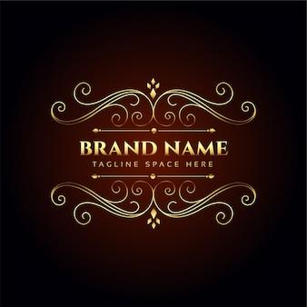Projekt koncepcyjny złoty kwiatowy logo luksusowej marki