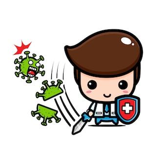 Projekt koronawirusa wycinanego przez lekarza