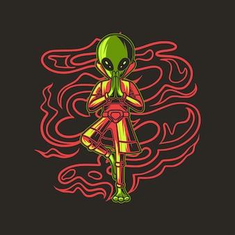 Projekt koszulki alien ćwiczenia z ilustracją jogi pozie drzewa