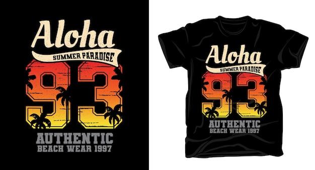 Projekt koszulki aloha dziewięćdziesiąt trzy typografia w stylu vintage