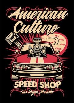 Projekt koszulki amerykańskiego sklepu z szybkimi samochodami mięśniowymi