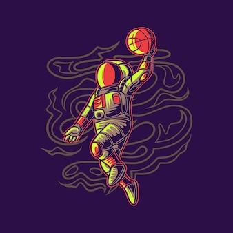Projekt koszulki astronauta skaczący z ilustracją koszykówki