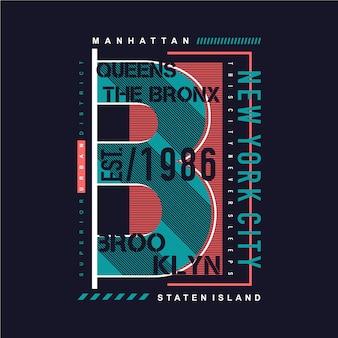 Projekt koszulki b jak brooklyn, new york city z graficzną typografią