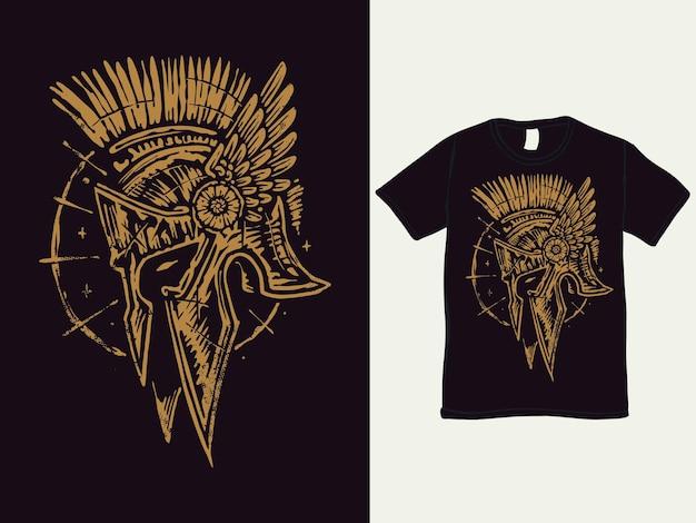 Projekt koszulki barbarzyńskiego spartańskiego hełmu