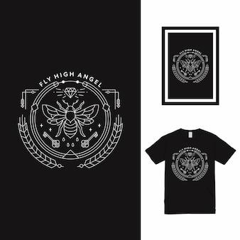 Projekt koszulki bee key line art