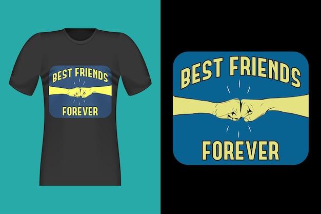 Projekt koszulki best friends forever w stylu vintage