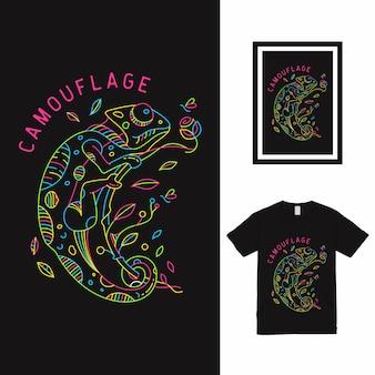 Projekt koszulki chameleon monoline