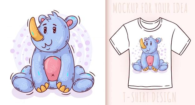 Projekt koszulki cute baby nosorożca kreskówka