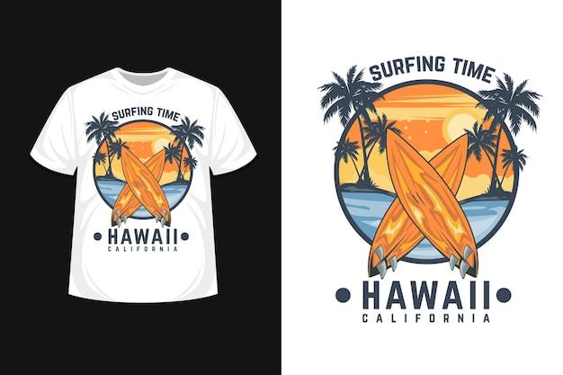 Projekt koszulki czas surfowania na hawajach w kalifornii