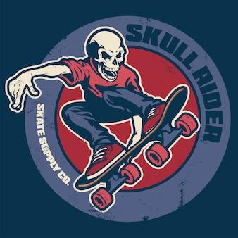 Projekt koszulki czaszki skateboardera vintage